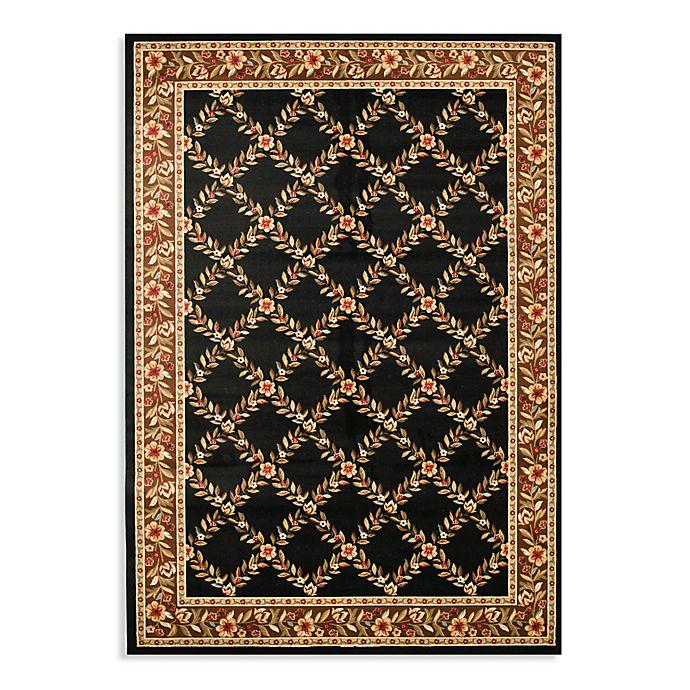 Alternate image 1 for Safavieh Lyndhurst Flower and Vine 5-Foot 3-Inch x 7-Foot 6-Inch Room Size Rug in Black