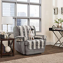 Smart Fit 3-Piece Faux Fur Recliner Cover in Grey Ombre