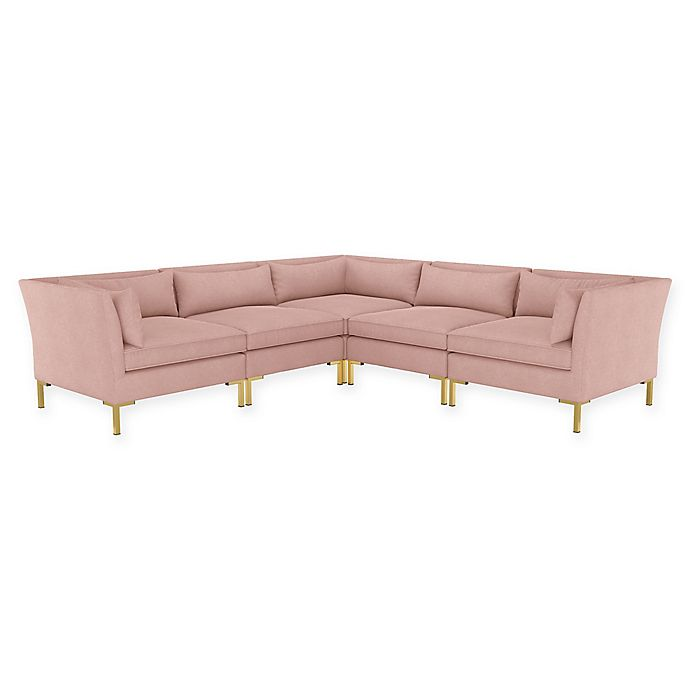 Alternate image 1 for Doyer 5-Piece L-Shaped Linen Sectional Sofa in Blush