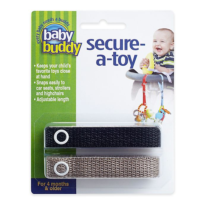 Alternate image 1 for Baby Buddy® Secure-A-Toy in Black/Tan(2-Pack)
