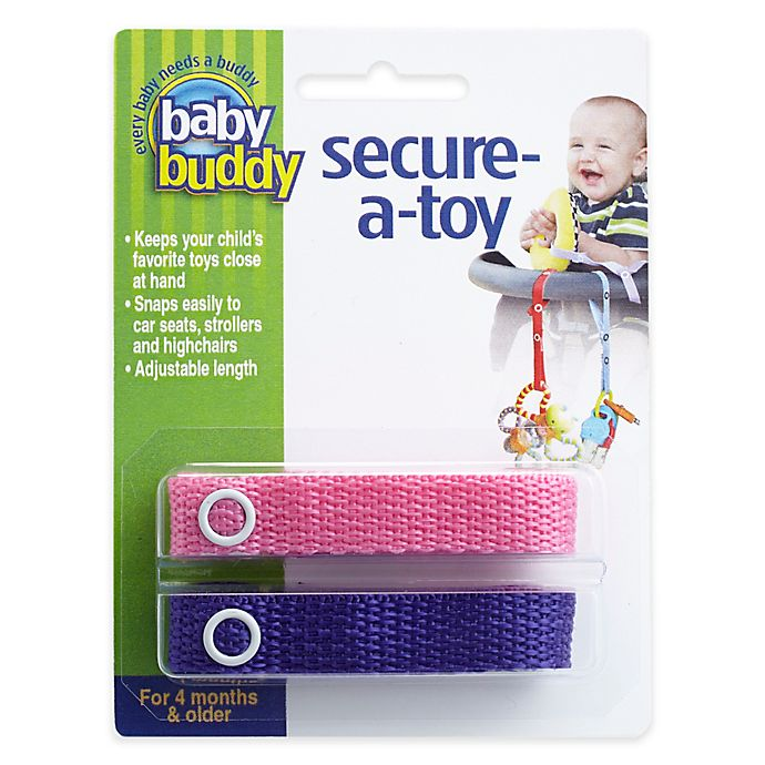 Alternate image 1 for Baby Buddy® Secure-A-Toy in Pink/Purple (2-Pack)