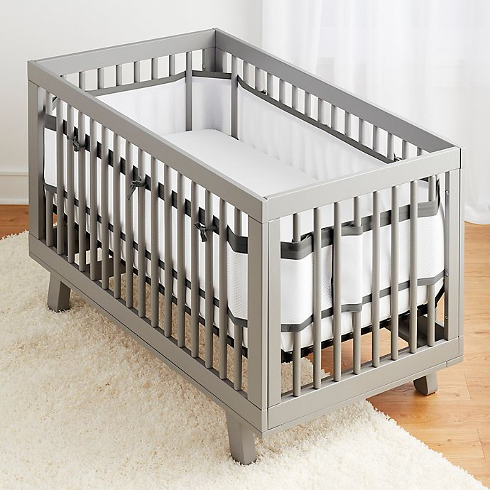 Alternate image 1 for BreathableBaby® Breathable Deluxe Mesh Crib Liner in Charcoal Linen