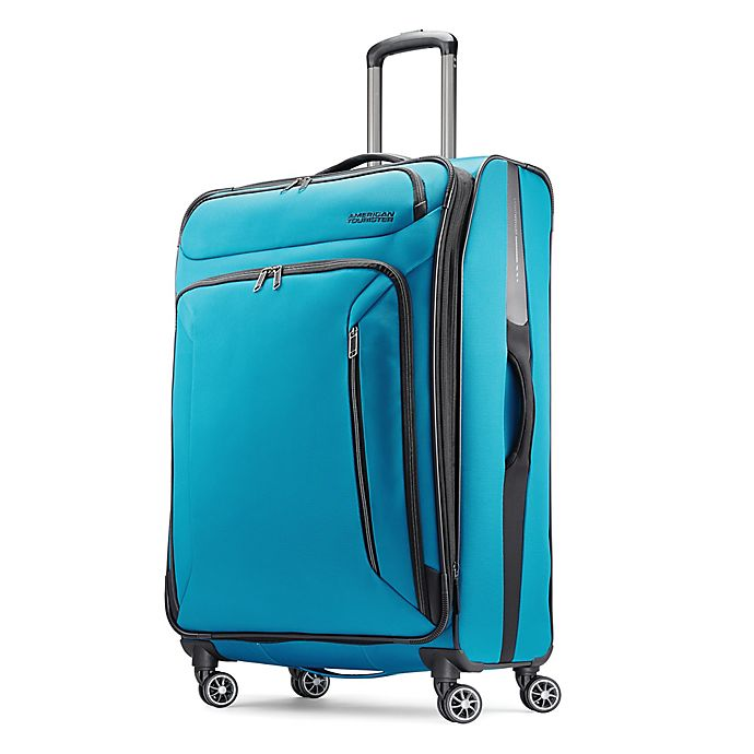 Alternate image 1 for American Tourister® Zoom 28-Inch Spinner Checked Luggage in Teal