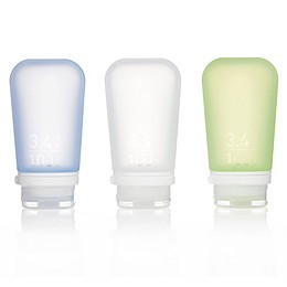 GoToob+ 3-Pack Squeezable Travel Bottle with Locking Cap in Clear/Green/Blue