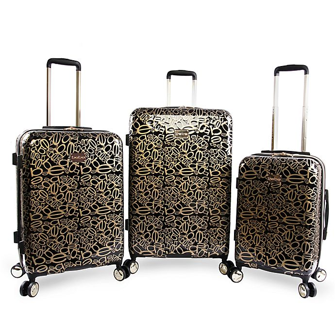 7ff0ae176 Bebe Annabelle 3-Piece Hardside Spinner Luggage in Black/Gold | Bed ...