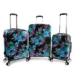 Bebe Rosette 3-Piece Hardside Spinner Luggage in Black/Purple