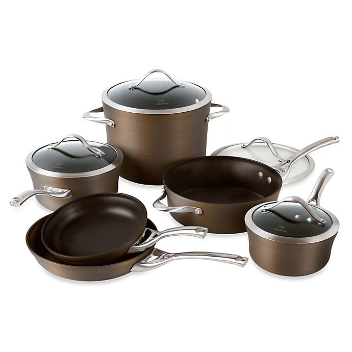Calphalon contemporary bronze nonstick 10 piece cookware set.