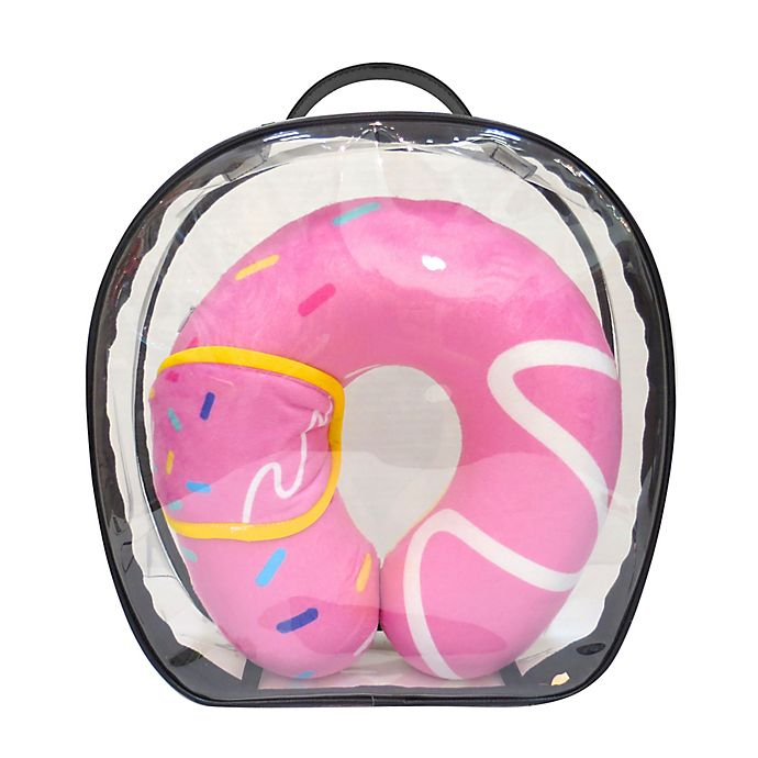 Alternate image 1 for Under One Sky Donut Neck Pillow/Eye Mask Set in Pink