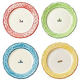 Euro Ceramica An American In Paris 4-Piece Dinner Plate Set