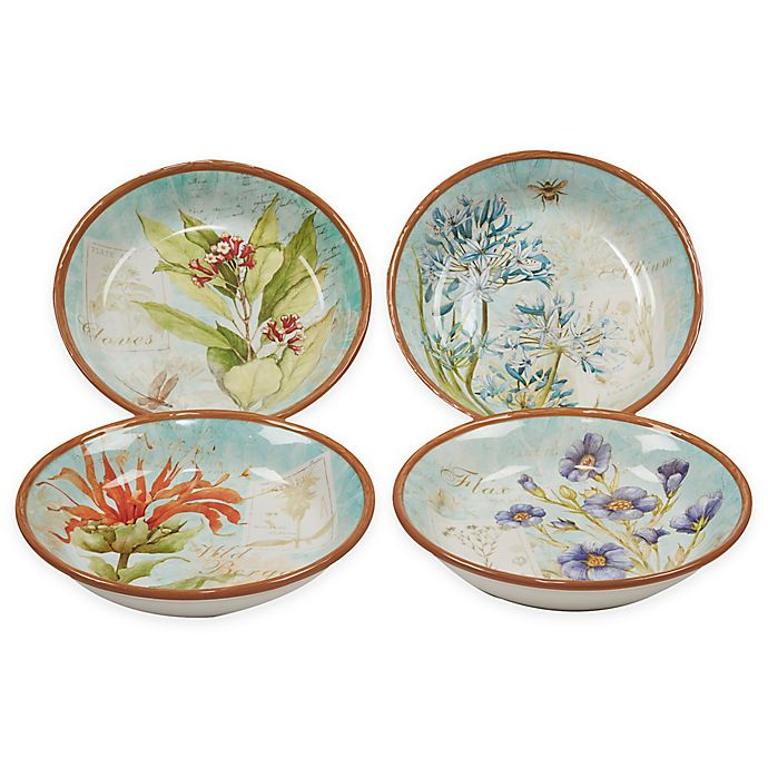 Alternate image 1 for Certified International Herb Blossoms Soup/Pasta Bowls (Set of 4)