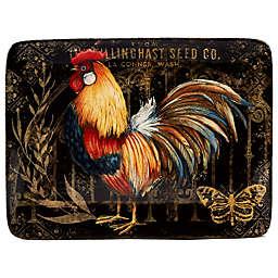 Certified International Gilded Rooster Rectangle Platter