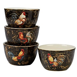 Certified International Gilded Rooster Ice Cream Bowls (Set of 4)