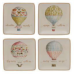 Certified International Beautiful Romance Balloon Canape Plates (Set of 4)