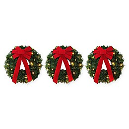 Winter Wonderland 18-Inch Pre-Lite Battery-Operated Wreaths (Set of 3)