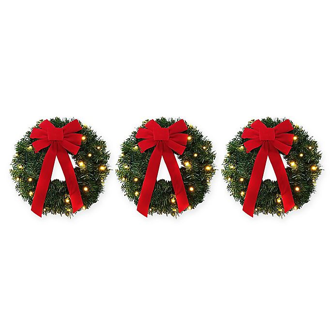 18 Inch Pre Lit Battery Operated Wreaths Set Of 3