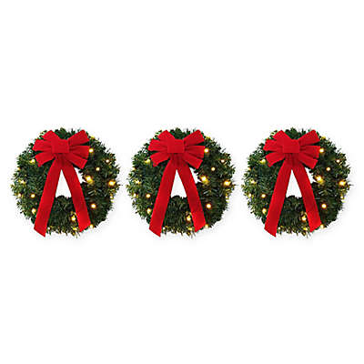 18-Inch Pre-Lit Battery-Operated Wreaths (Set of 3)