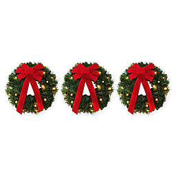 18 inch pre lit battery operated wreaths set of 3 - Solar Powered Christmas Wreath