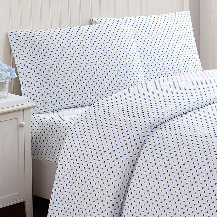 Alternate image 1 for Truly Soft Everyday Dot Full Sheet Set in Blue