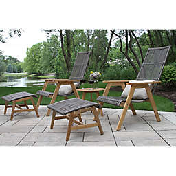 Outdoor Interiors® Teak & Wicker Patio Conversation Collection in Natural/Grey