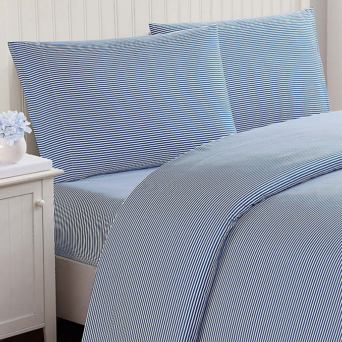 Alternate image 1 for Truly Soft Stripe Twin Sheet Set in Blue