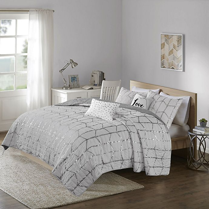 Alternate image 1 for Intelligent Design Raina 4-Piece Twin/Twin XL Coverlet Set in Grey/Silver