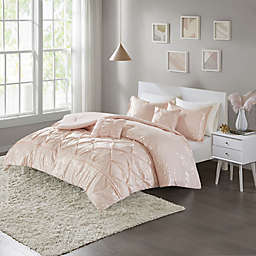 Intelligent Design Adele Metallic 4-Piece Twin/Twin XL Comforter Set in Blush/Gold