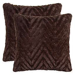 Herringbone Faux Fur 18-Inch Square Throw Pillows (Set of 2)