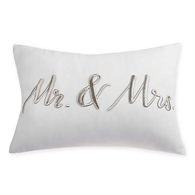 Mr. and Mrs. Rectangular Throw Pillow in White/Silver
