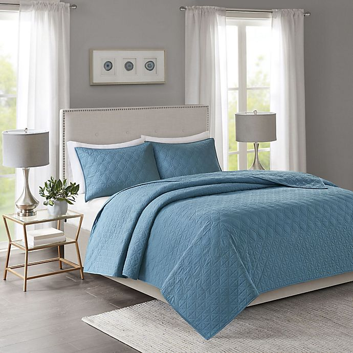 Alternate image 1 for Madison Park Linnette Full/Queen Coverlet Set in Teal