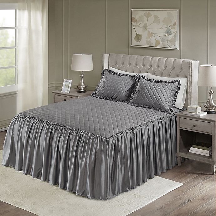 Alternate image 1 for Madison Park Roxanne Velvet King Bedspread Set in Grey