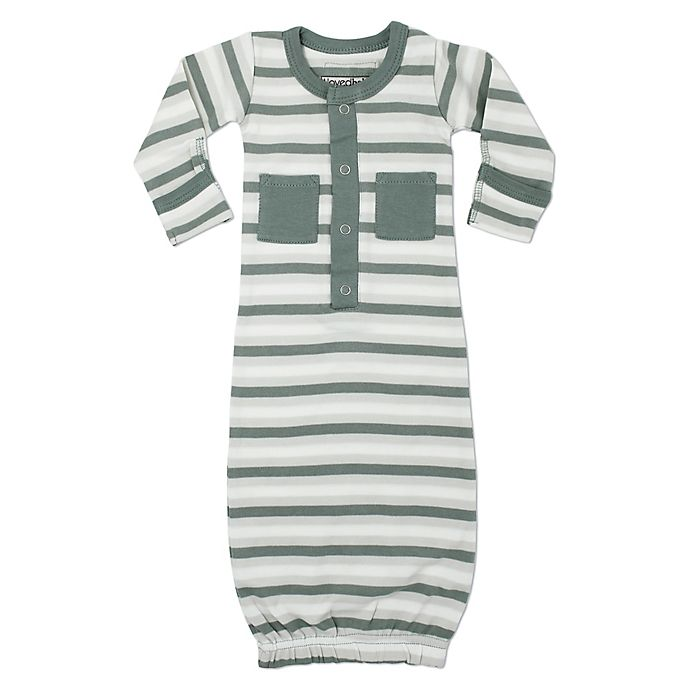 Alternate image 1 for L'ovedbaby® Striped Organic Cotton Gown in Seafoam