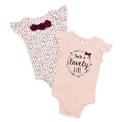 "Baby Starters® 2-Pack ""Such a Lovely Girl"" Bodysuits in Peach"