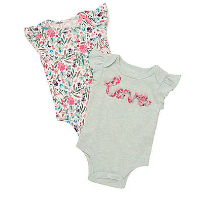 "Baby Starters® 2-Pack ""Love"" Bodysuits in Mint"