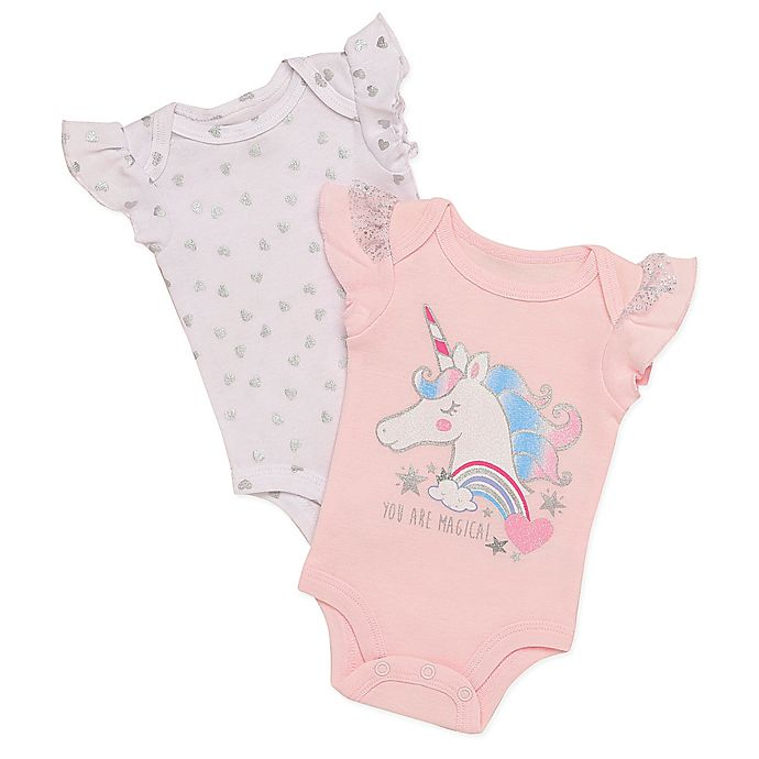 01b28b73f1 Baby Starters® 2-Pack Unicorn Short Sleeve Bodysuits in Pink