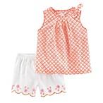 carter's® Size 3M 2-Piece Poplin Top and Scallop Short Set in Orange/White
