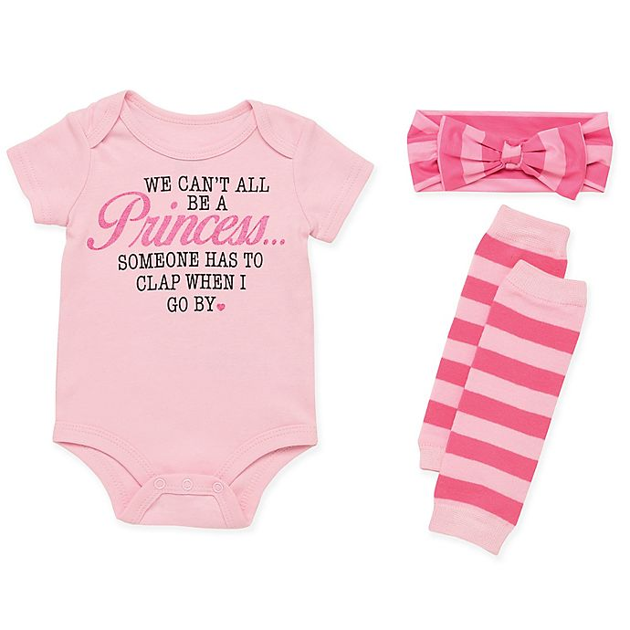 Alternate image 1 for Baby Starters® 3-Piece Princess Bodysuit, Headband and Leg Warmer Set in Pink