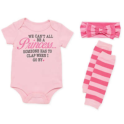 Baby Starters® 3-Piece Princess Bodysuit, Headband and Leg Warmer Set in Pink