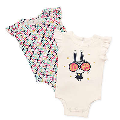 Baby Starters® 2-Pack Love Bunny Short Sleeve Bodysuits in White