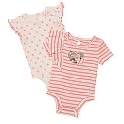 Baby Starters® 2-Pack Striped Heart Short Sleeve Bodysuits in Coral