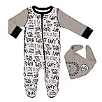 """Baby Starters® Size 9M 2-Piece """"Can't Touch This"""" Footie and Bib Set in Grey"""