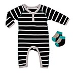 Baby Starters® Size 9M 2-Piece Stripe Coverall and Socks Set in Black/White