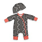 Baby Starters® Size 3M 2-Piece Geometric Coverall and Hat Set in Black