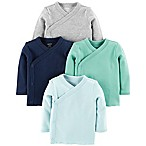 carter's® Size 3M 4-Pack Side-Snap Shirts in Blue