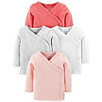 carter's® Newborn 4-Pack Side-Snap Long Sleeve Tees in Pink