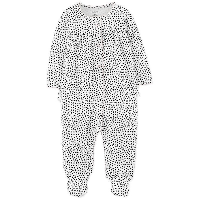 Alternate image 1 for carter's® Hearts Footed Coverall in Black/White