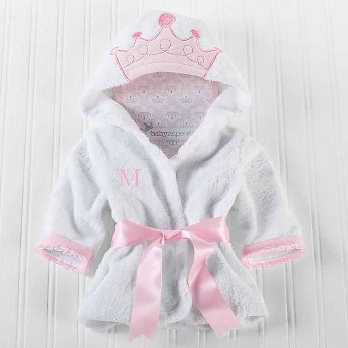 Alternate image 1 for Baby Aspen Size Newborn-9M Little Princess Hooded Spa Robe in White