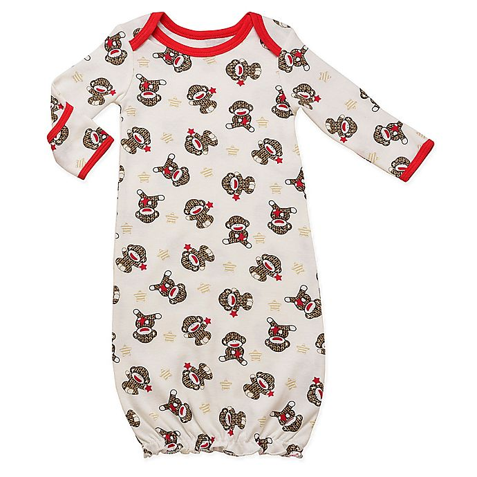 Alternate image 1 for Baby Starters® Sock Monkey Gown in White
