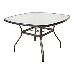Never Rust Aluminum 44-Inch Square Tempered Glass Dining Table