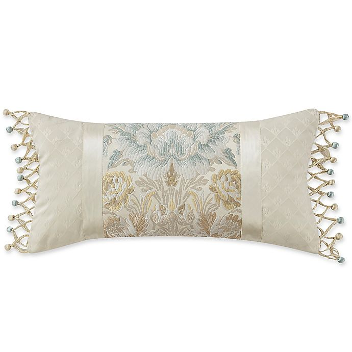 Alternate image 1 for Marquis® by Waterford Warren Jacquard Oblong Throw Pillow in Beige
