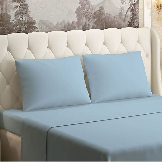 Alternate image 1 for Brielle 630-Thread-Count 100% Cotton Sateen Twin Sheet Set in Light Blue